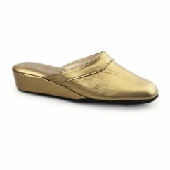 FLORENCE Ladies Leather Mule Slippers Bronze
