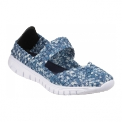 DRIFT Ladies Woven Mary Jane Shoes Light Blue