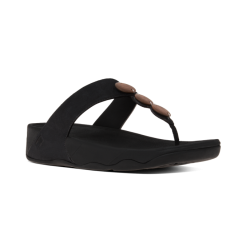 PETRA™ Ladies Leather Decorative Toe Post Sandals Black