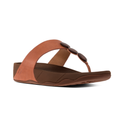 PETRA™ Ladies Leather Decorative Toe Post Sandals Dark Tan