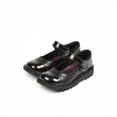 KICK POP Girls Leather/Patent Mary Jane Shoes Black