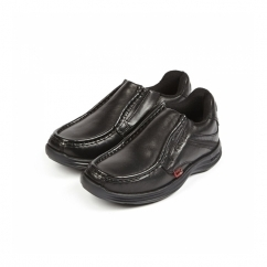 REASAN SLIP Boys Leather Slip-On Shoes Black