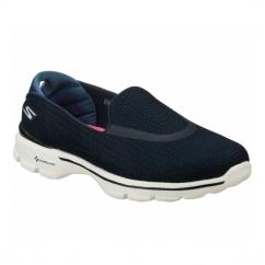 GO WALK 3 Ladies Slip-On Walking Trainers Navy/White