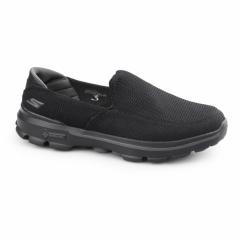 GO WALK 3 Mens Slip On Walking Trainers Black