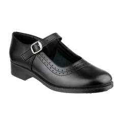 PEARL Girls Leather Buckle Smart School Shoes Black