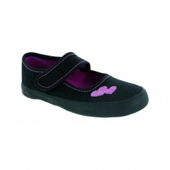 BAR VELCRO Girls Touch Fasten School Plimsolls Black