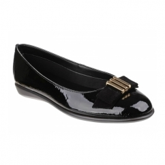 RISE A BOW Ladies Patent Leather Ballerina Pumps Black