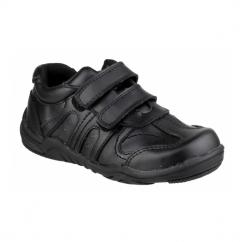 STEVE Boys Touch Fasten School Shoes Black