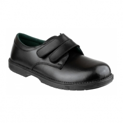 WILLIAM Boys Leather Touch Fasten School Shoes Black