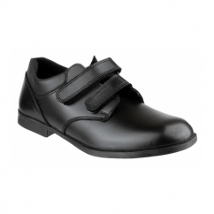 NATHAN Boys Leather Double Touch Fasten School Shoes Black