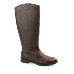 EMILIA Ladies Leather Brogue Tall Boots Brown
