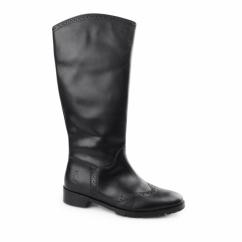 EMILIA Ladies Leather Brogue Tall Boots Black