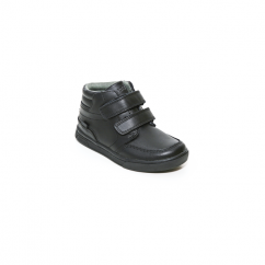 LOTUS HI Boys Leather Touch Fasten School Boots Black