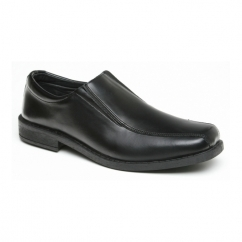 LUKE Boys Leather Double Gusset School Loafer Shoes Black