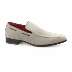 RUNU KR2 Mens Faux Suede Loafers Grey