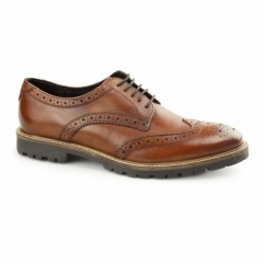 TRENCH Mens Washed Leather Brogue Shoes Tan