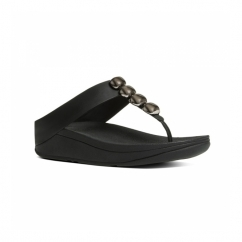 ROLA™ Ladies Toe Post Jewel Sandals Black