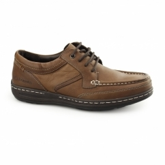 VINES VICTORY Mens Leather Moccasin Lace-Up Shoes Brown