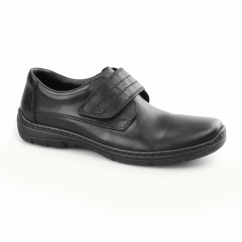 15262-01 Mens Leather Touch Fasten Shoes Black