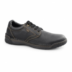 B0300-00 Mens Leather Lace-Up Extra Wide Shoes Black