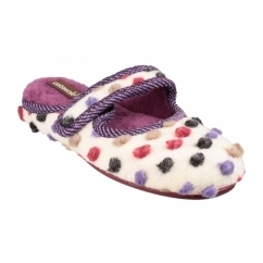 CLANFIELD Ladies Spotted Mary Jane Slippers Beige