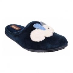 HYDE Ladies Novelty Rabbit Mule Slippers Blue