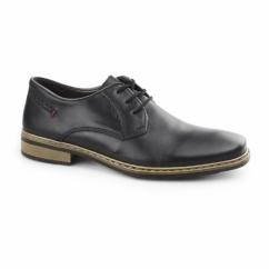 10822-01 Mens Leather Lace Up Derby Shoes Black