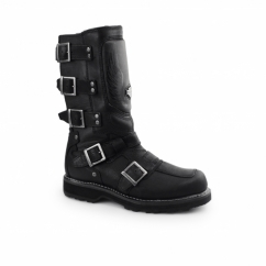 MOTOCRUZ Mens Leather Zip Buckle Biker Boots Black
