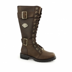 BELHAVEN Ladies Leather Knee High Biker Boots Brown