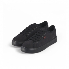 TOVNI LACER Boys Canvas Trainers Black