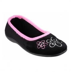 ARLES Ladies Floral Slip On Full Slippers Black