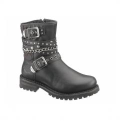 SHAY Ladies Leather Zip Biker Boots Black