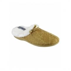 DIEPPE Ladies Faux Fur Paisley Mule Slippers Beige