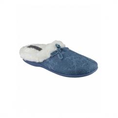 DIEPPE Ladies Faux Fur Paisley Mule Slippers Blue