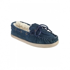 TAW Ladies Suede Leather Moccasin Boat Slippers Navy