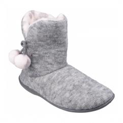 LIMOGES Ladies Pom Pom Boot Slippers Grey