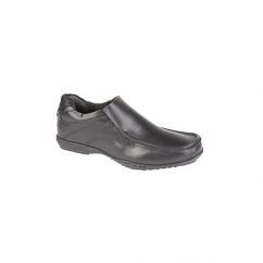 RECESS Boys Leather Slip On Mocasin Shoes Black