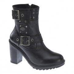 LUDWELL Ladies Leather High Heel Ankle Boots Black