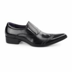 SEBASTIAN Mens Slip On Cuban Heel Shoes Black