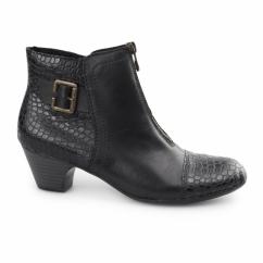 70581-00 Ladies Leather Centre Zip Heel Ankle Boots Black