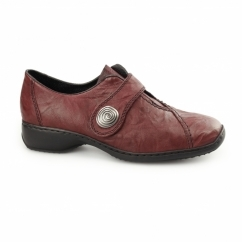 L3870-35 Ladies Leather Touch Fasten Shoes Red