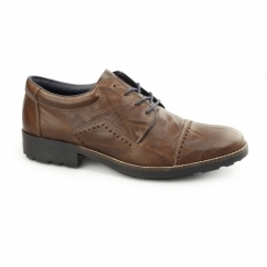 16002-26 Mens Leather Lace-Up Wide Fit Shoes Brown