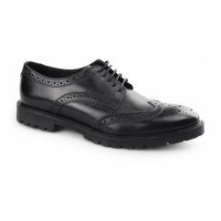 TRENCH Mens Washed Leather Brogue Shoes Black