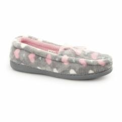 LOCKHART Ladies Heart Slip On Loafer Slippers Grey