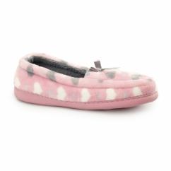 LOCKHART Ladies Heart Slip On Loafer Slippers Pink