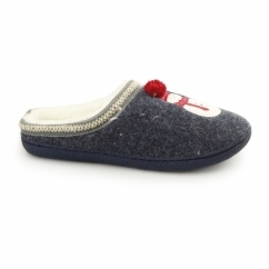 NORTH POLE Ladies Snowman Novelty Mule Slippers Navy