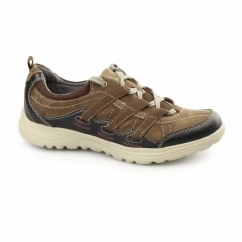RICO Ladies Lace Up Suede Walking Trainers Brown