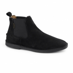 SELBY Mens Suede Wide Chelsea Desert Boots Black