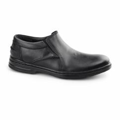 ALAN HANSTON Mens Leather Loafers Black