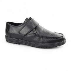 KEVIN Mens Leather Touch Fasten Shoes Black